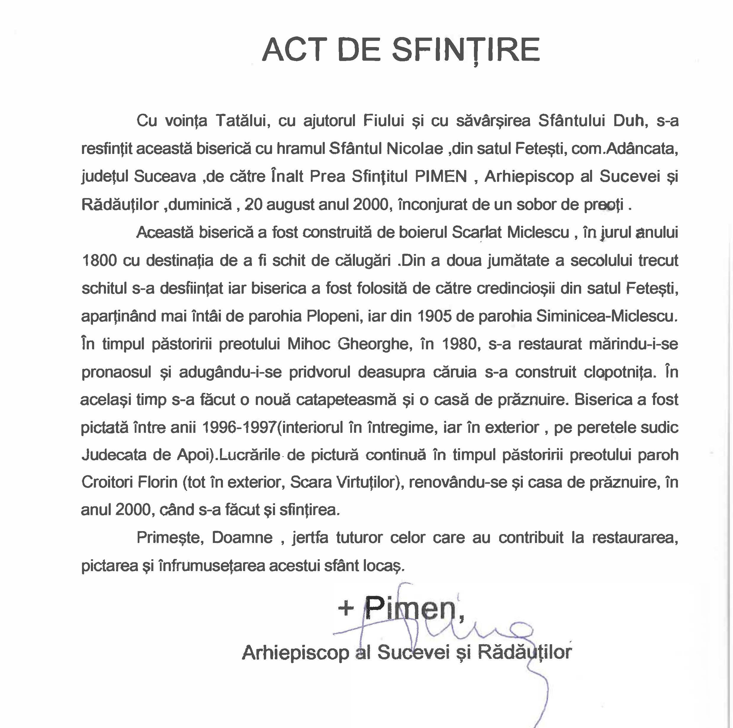 act_de_sfintire
